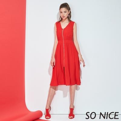 SO NICE夏日亮紅個性洋裝