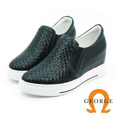 GEORGE 喬治-內增高系列 手工編織質感側鬆緊帶內增高鞋-黑色