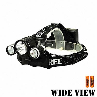 【WIDE VIEW】頭戴/車用雙功能T6三頭燈組(NZL-KC018-2BCY)-快