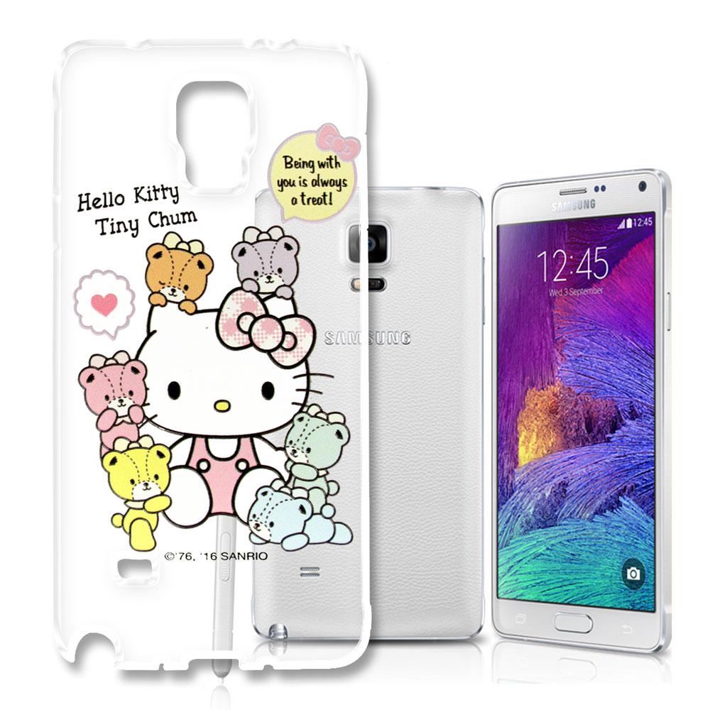 Hello Kitty 三星 Galaxy Note4 浮雕彩繪透明軟殼(熊好朋友)
