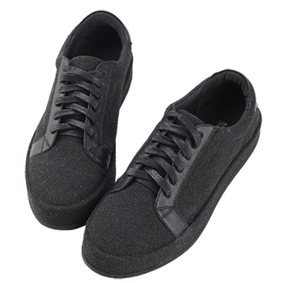 Robinlo&Co. 街頭百搭絨布真皮板鞋 黑