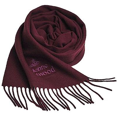 Vivienne Westwood 長版刺繡行星LOGO羊毛圍巾(紅酒紅)