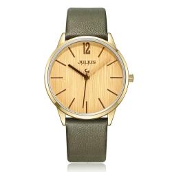 JULIUS聚利時 秋日暖陽直紋錶面皮錶帶腕錶-軍綠/36mm