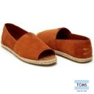 TOMS 露趾麂皮藤邊懶人鞋-女款(褐)