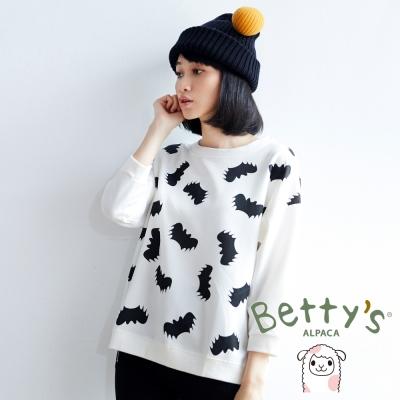 betty's貝蒂思 蝙蝠圖案壓紋七分袖T-shirt(白色)