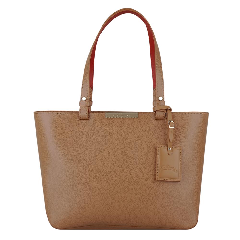 LONGCHAMP Le Foulonne City系列購物肩背包(卡其內裡紅/小) | 歐系精品包/配件| Yahoo奇摩購物中心