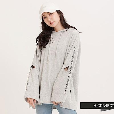 H:CONNECT 韓國品牌 女裝 - 圓環袖印字帽T-灰