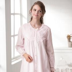 羅絲美睡衣 - 純真年代長袖洋裝睡衣(淺粉色)