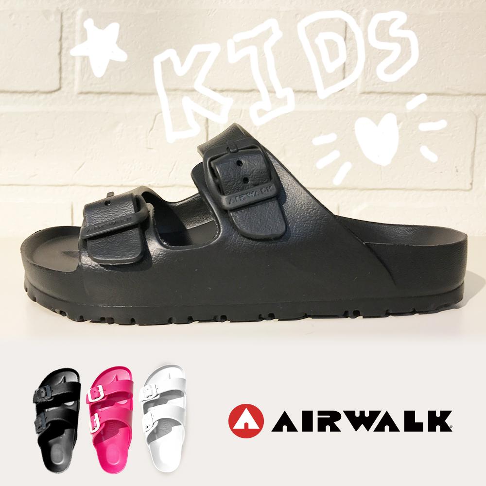 【AIRWALK】台灣製造輕盈休閒舒適AB拖鞋-童款-黑色