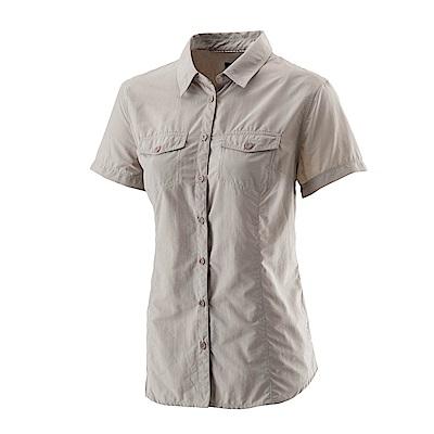 【Wildland 荒野】女排汗抗UV短袖襯衫白卡其