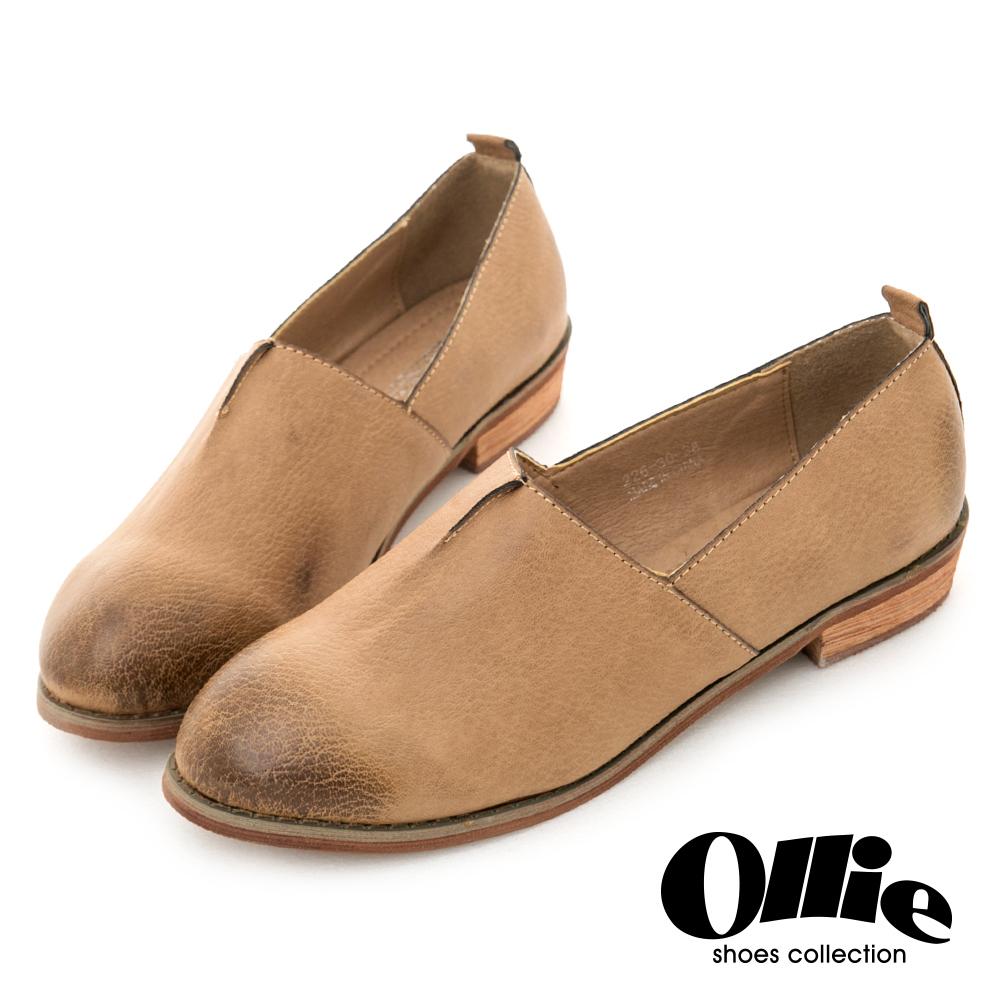 Ollie韓國空運-荔枝紋皮革素面渲染樂福鞋-咖