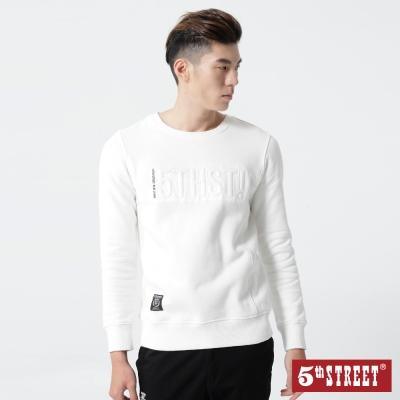 5th STREET 繡凸LOGO棉T-男-米白