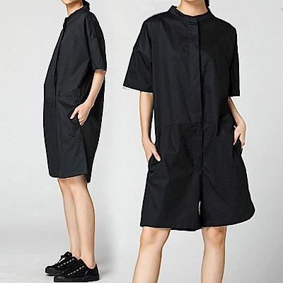 立領隱藏排扣寬版連身褲裝-(共二色)Andstyle