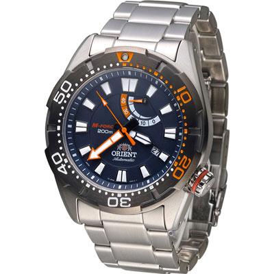 東方錶 ORIENT 200米動力儲存機械錶-黑/44mm