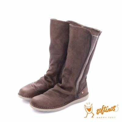 Softinos(女)- HAPPY FEET 側彈力可調筒圍造型直套長靴- 駝棕