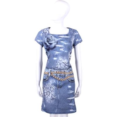 ANNA RACHELE 藍色牛仔印花圖騰短袖洋裝
