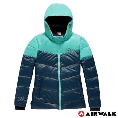 AIRWALK-女-撞色雙色羽絨外套-深藍