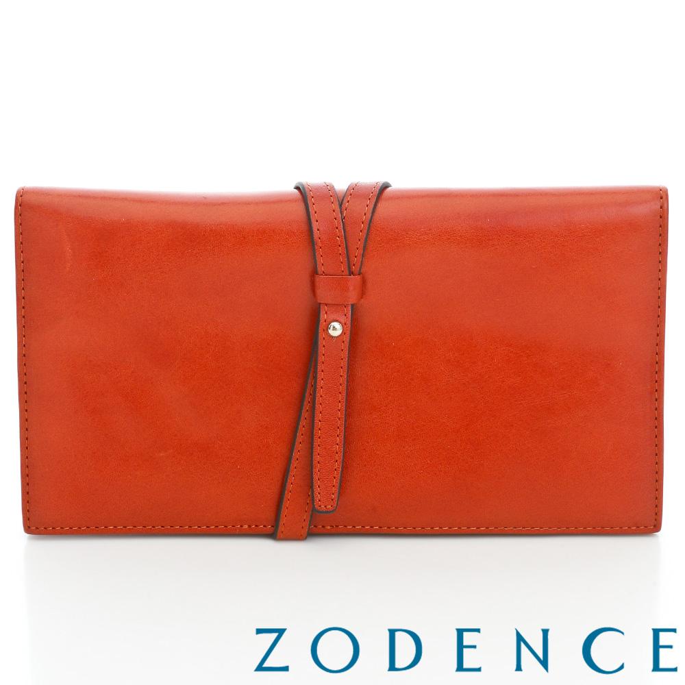 ZODENCE 義大利植鞣革雋永系列牛皮飾帶護照套長夾 橘紅