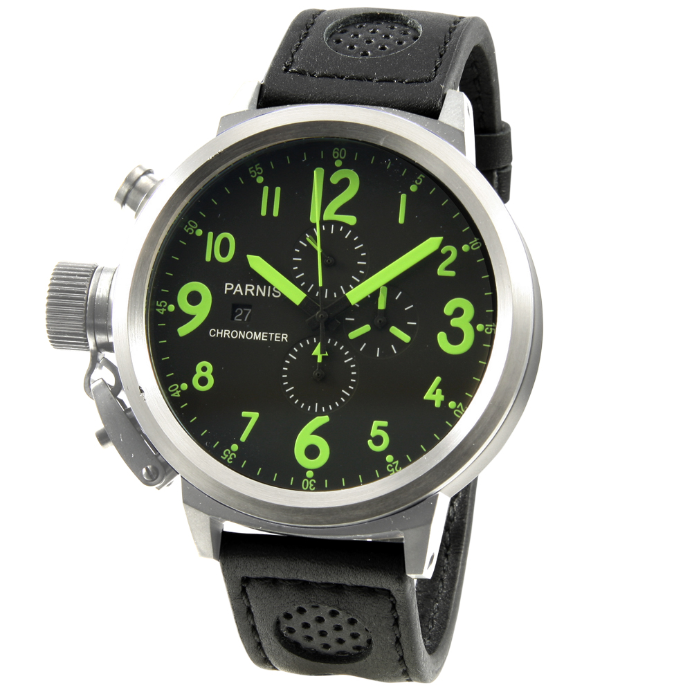 PARNIS大錶徑/綠魔鬼/多功能/計時腕錶/左手錶/PA5004/藍膜/50mm/石英錶