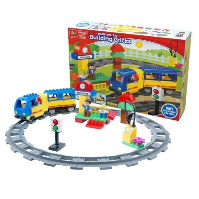 幼兒積木-電動火車積木組合-大顆粒積木