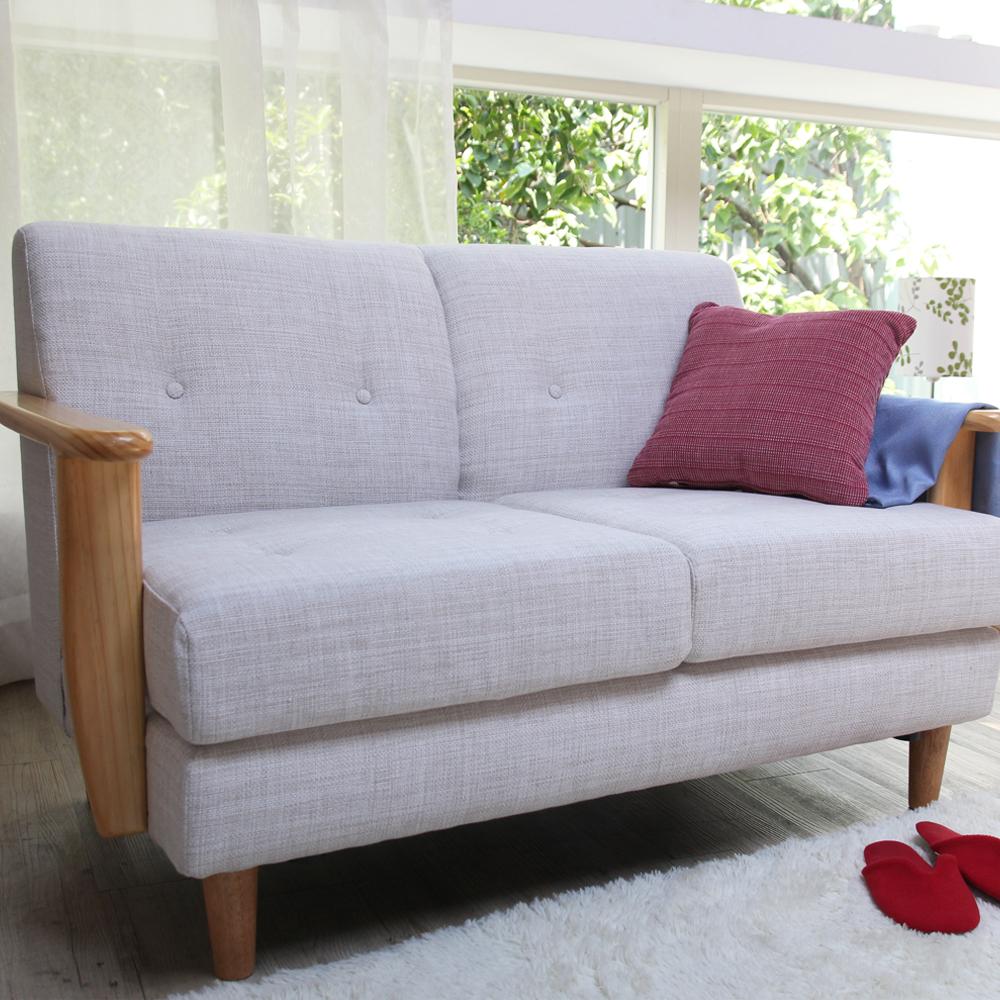 H&D 森。日式原木雙人布沙發-米白色