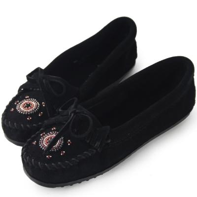 MINNETONKA 黑色 麂皮愛心串珠平底莫卡辛 女鞋 (展示品)