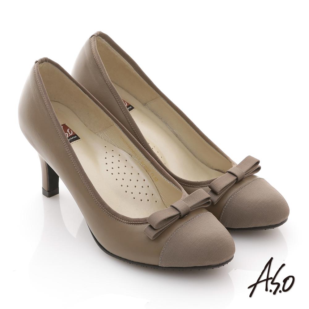 A.S.O 都會系列 全真皮窩心雙層結飾拼接高跟鞋 卡其