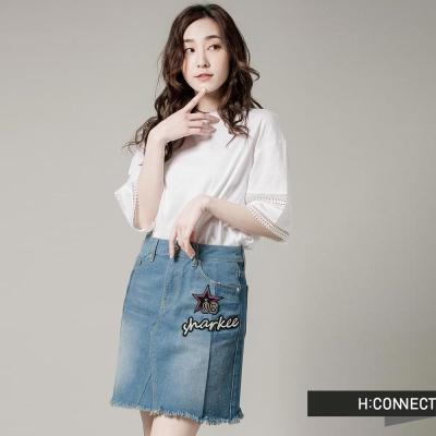 H:CONNECT 韓國品牌女裝-SHARKEE街頭感破損丹寧短裙-藍(快)