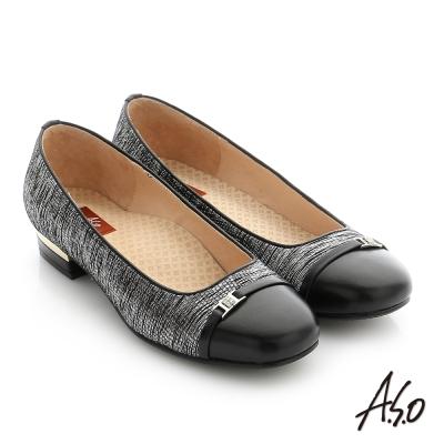 A.S.O 舒適通勤 全真皮水鑽飾釦奈米低跟鞋 黑色