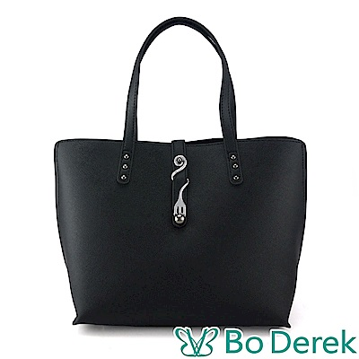 Bo Derek 造型曲線飾扣防刮手提/斜背包-黑