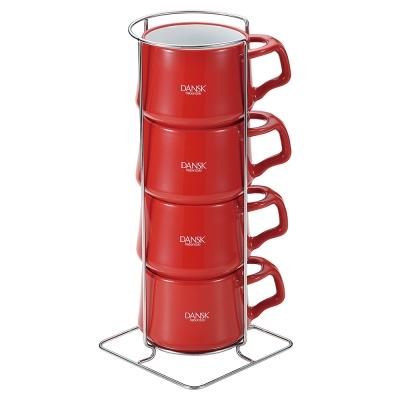 DANSK 陶瓷迷你馬克杯(4件組)(紅色)