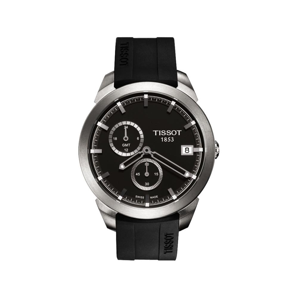 TISSOT Titanium GMT 時尚鈦金屬二地時區腕錶-黑/43mm