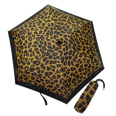 COACH-棕黑豹紋圖繪輕量攜帶型晴雨傘