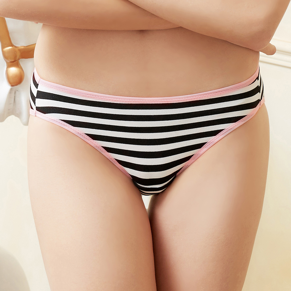 推EASY SHOP-條紋派對 低腰三角褲(黑白條紋)
