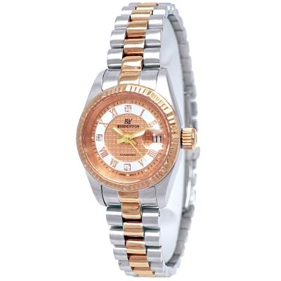 ROSDENTON 勞斯丹頓羅馬時標時尚雙色手錶-玫瑰金X銀/25mm