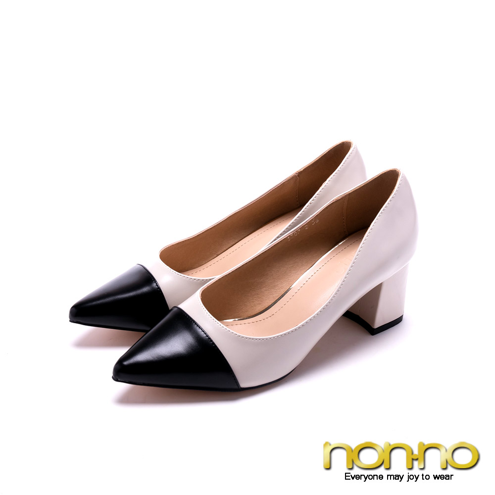 nonno 都會魅力 時尚拼色尖頭跟鞋-米