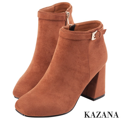 KAZANA-絨布微方頭細條帶釦短靴 棕