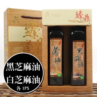 【蔥媽媽嚴選】水飛工法白芝麻油x1+冷壓黑芝麻油x1(500ml/瓶/禮盒)