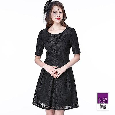 ILEY伊蕾 典雅花紋蕾絲短袖洋裝(黑)
