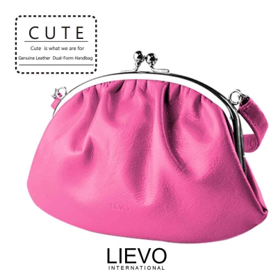 LIEVO-真皮手提口金包 100%天然小羊鞣革 台灣製造/4色SM01
