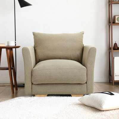 H&D 瑪德琳厚造型單人布沙發(2色)