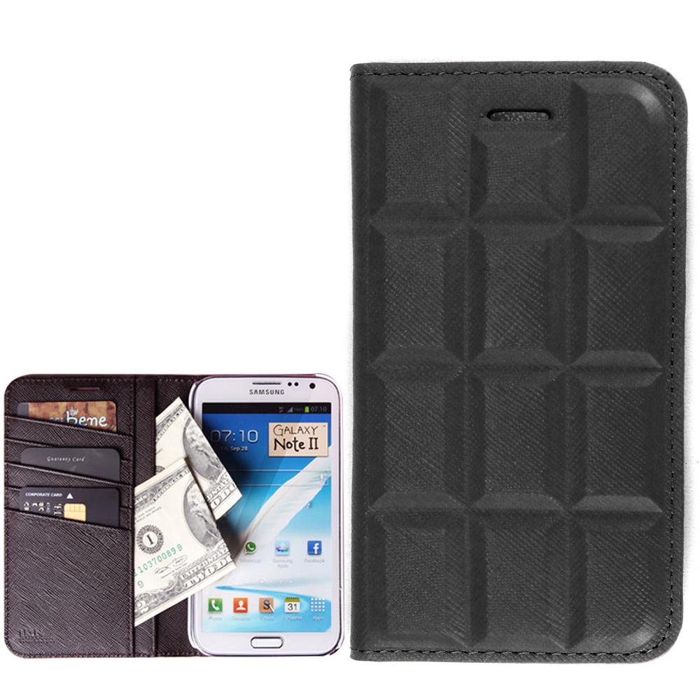 韓國 LKUN Samsung Note2 N7100 濃郁純黑巧克力真牛皮手機皮套