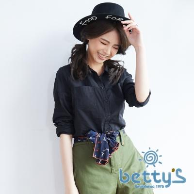 betty's貝蒂思 前雙口袋長袖百搭襯衫(黑色)