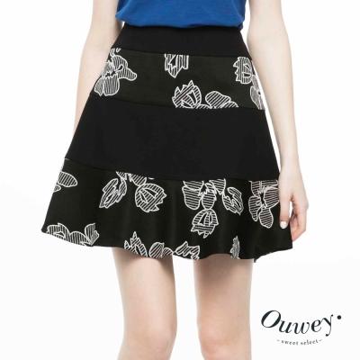 OUWEY歐薇-幾何剪接黑白緹花短裙
