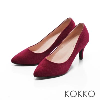 KOKKO-尖頭光感絲絨晚宴手工高跟鞋-葡萄酒紅