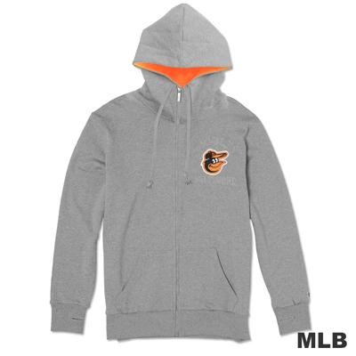MLB-巴爾的摩金鶯隊連帽繡印花厚外套-麻灰(男)