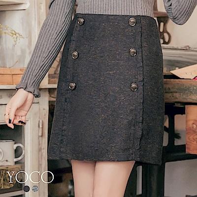 東京著衣-yoco 冬日美型雙排釦剪接毛呢短裙-S.M.L(共二色)