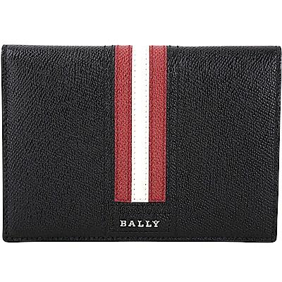 BALLY TALKNIS 防刮牛皮條紋飾萬用護照夾(黑色)