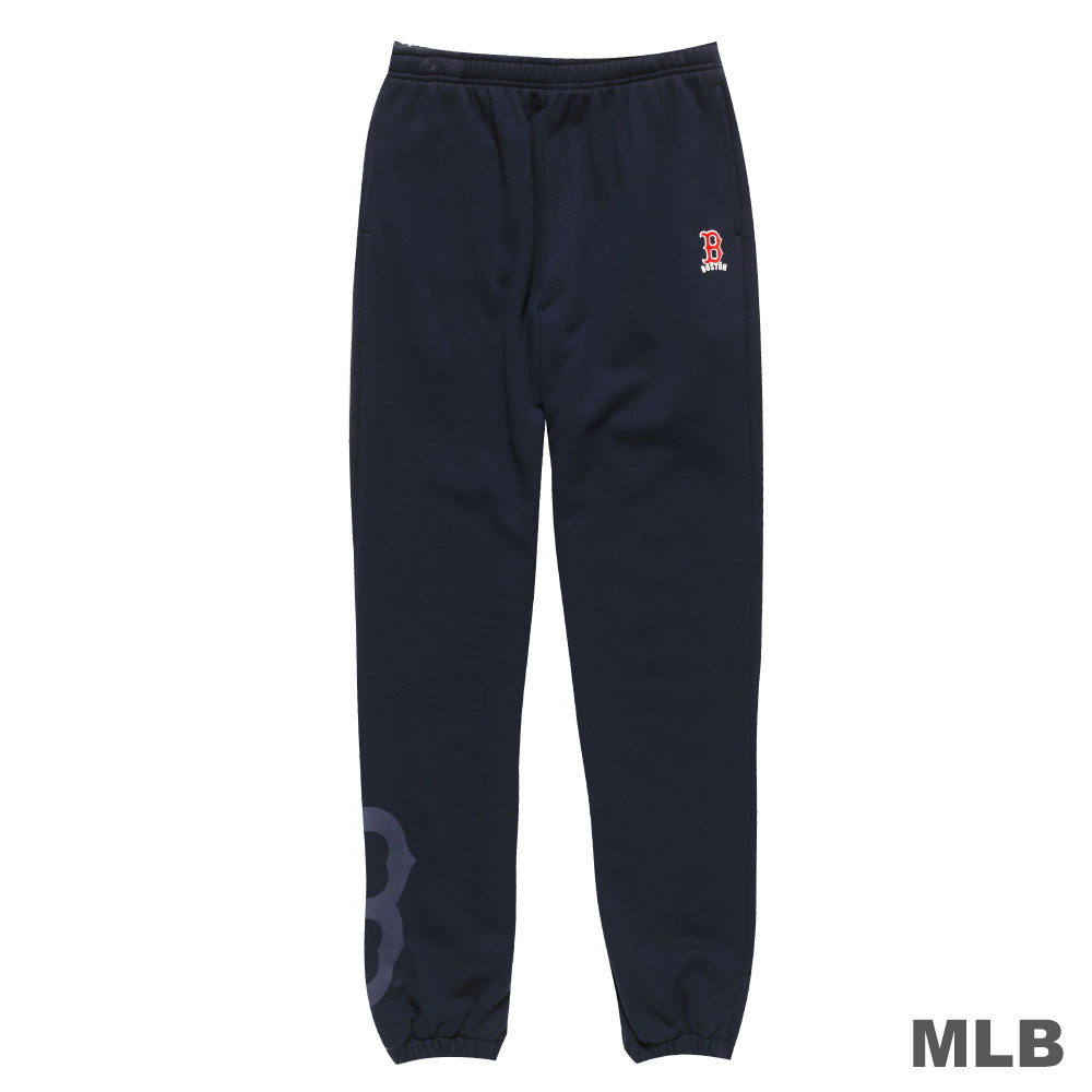 MLB-波士頓紅襪隊縮口植絨印花厚長褲-深藍(男)