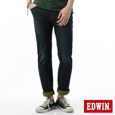 EDWIN-中直筒-迦績褲全黑腰頭牛仔褲-男-原藍磨